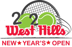 Logo for the 2020 West Hills New Year's Open Tennis Tournament, showing the 2020 date with green tennis balls in place of the zeroes.