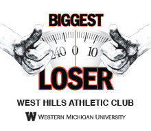 Logo for The Biggest Loser at West Hills Athletic Club: Two thumbs up in front of a scale.