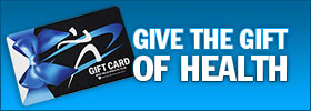 Image depicting a West Hills gift card with text reading: Buy Gift Cards Online. Give the gift of health.