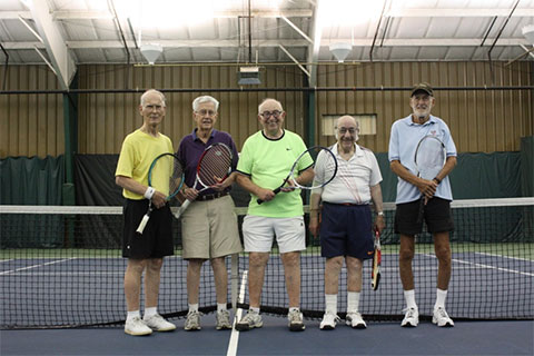 Photo of the over 80 tennis players.