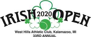 Logo for the 33rd Annual Irish Open Tennis Tournament at West Hills Athletic Club, featuring the year 2020 surrounded by green 4-leaf clovers and a green tennis ball.