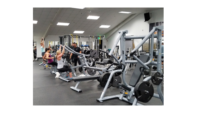 A side view of the fitness floor, showing rows of weightlifting equipment.